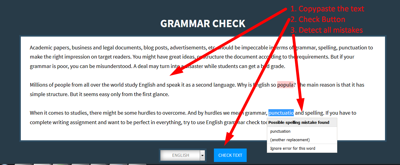 English grammar checker editor